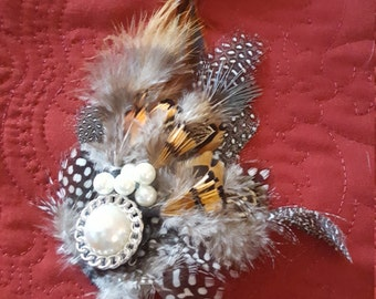 Feather hair clip/hat decoration