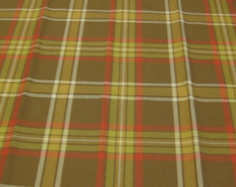 SALE! The Aiken Collection, Covington, Dunaway, Red, Yellow,Brown,White Plaid. 100% Cotton. Retro looking. Horse/Dog Collection