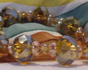 AMBER GLASS BEADS (12mm) - Stretchy Beaded Bracelet - Fantasic 109