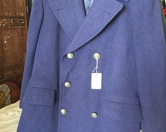 Excellent vintage blue wool long army peacoat