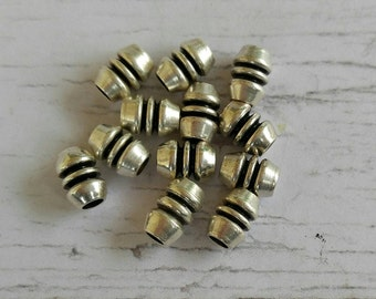 Silver Metal Spacer Beads// Antique Silver Tube Beads// Bracelet Findings// Big Hole Beads// 2mm Hole// 10 pieces