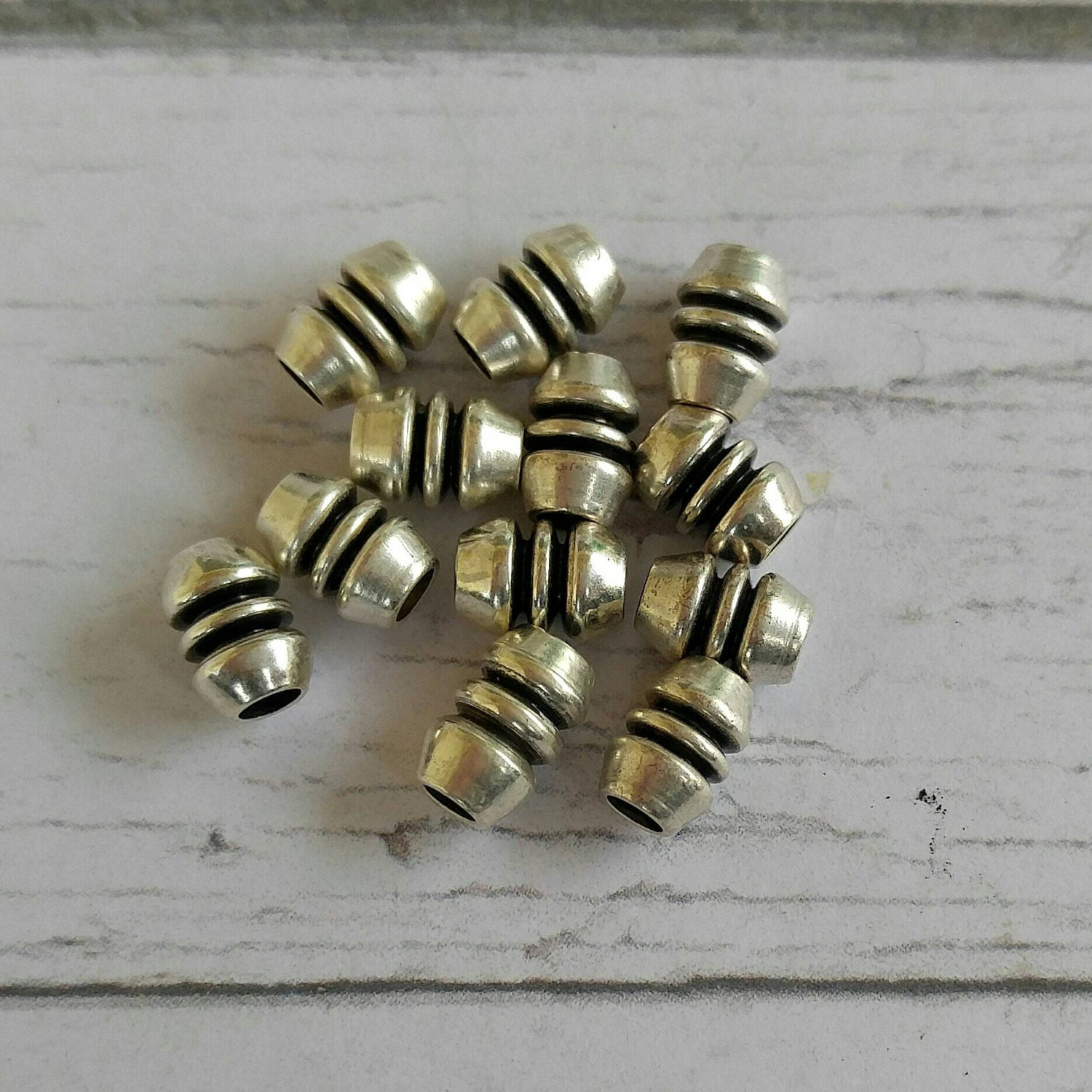 Silver metal spacer beads antique tube