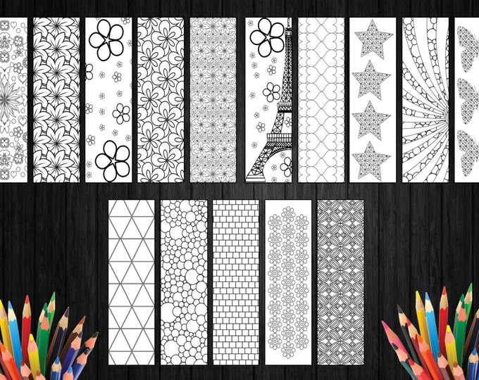 Stress Relief Coloring, Stress Relieving Pattern, Coloring Sketch, Coloring Addicts, Gift For Book Readers, Children Bookmark, 15 Bookmarks