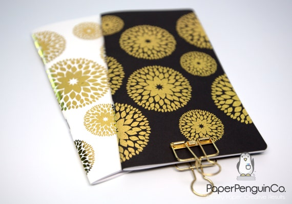 Midori Insert Foil Flower MTN Travelers Notebook Standard Regular A5 Wide B6 Personal A6 Pocket Field Notes Passport / Grid Dots Lined Blank
