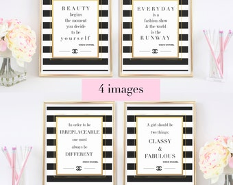 LOWEST PRICE on Etsy!  4 Coco Chanel Quotes - Printable Art / Poster with Gold Foil - DIY Home Print Typography