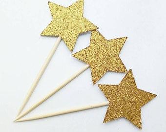 Twinkle Twinkle Little Star. Gold Stars. Gold Star Cupcake Toppers. Cupcake Toppers. Star Cupcake Toppers
