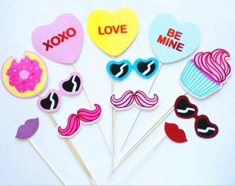 Sweet Props. Xoxo Photo Props. Photobooth Props. Mustache Props. Valentines Day Props. Wedding Photobooth Props.