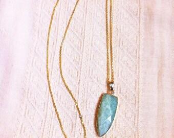 Gold filled long necklace with light blue amazonite gemstone pendant