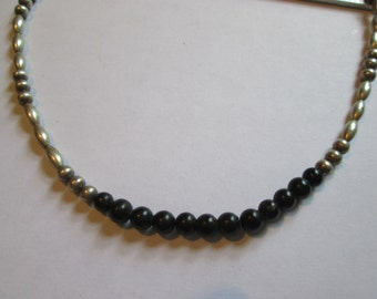 Vintage Black and Metal Beaded Necklace