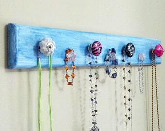 "Jewelry Rack ""Wood""  - Blue ""Weathered Look"" w/Decorative Knobs"