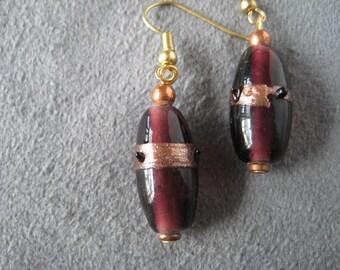 Earrings, plum earrings, purple earrings, drop earrings, fishhook earrings, copper colored,