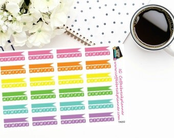 Planner Stickers | Flag Habit Tracker Stickers|Stitched Flag Habit Tracker Stickers|For use in a variety of planners and journals|TR002