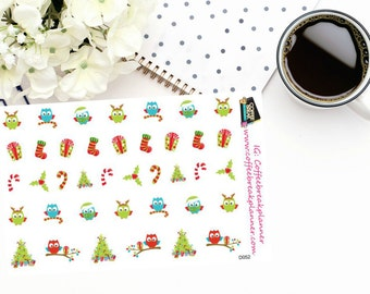 Planner Stickers | Christmas Owl Stickers| Decorative Christmas Elements|Christmas Stickers|Christmas Owl Stickers|Christmas Tree|D052
