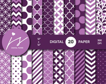 Purple Digital Paper Pack, Printable Paper, Seamless Paper Pattern, Digital Paper Bundle, Commercial Use Digital Paper, MI-201A