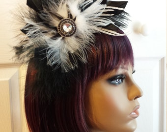 Headband Headdress Black and White Feathers with Gemstone Accent