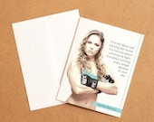 UFC legend Ronda Rousey MemoryTag QR Video Greeting Card. High Quality paper stock, add your own video-photo or gift right to the QR inside!