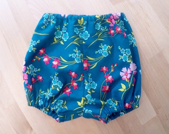 Teal flower baby bloomers/diaper cover/shorts