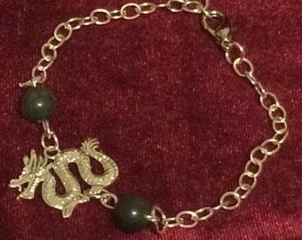 Chinese Dragon Charm Bracelet with green jasper beads