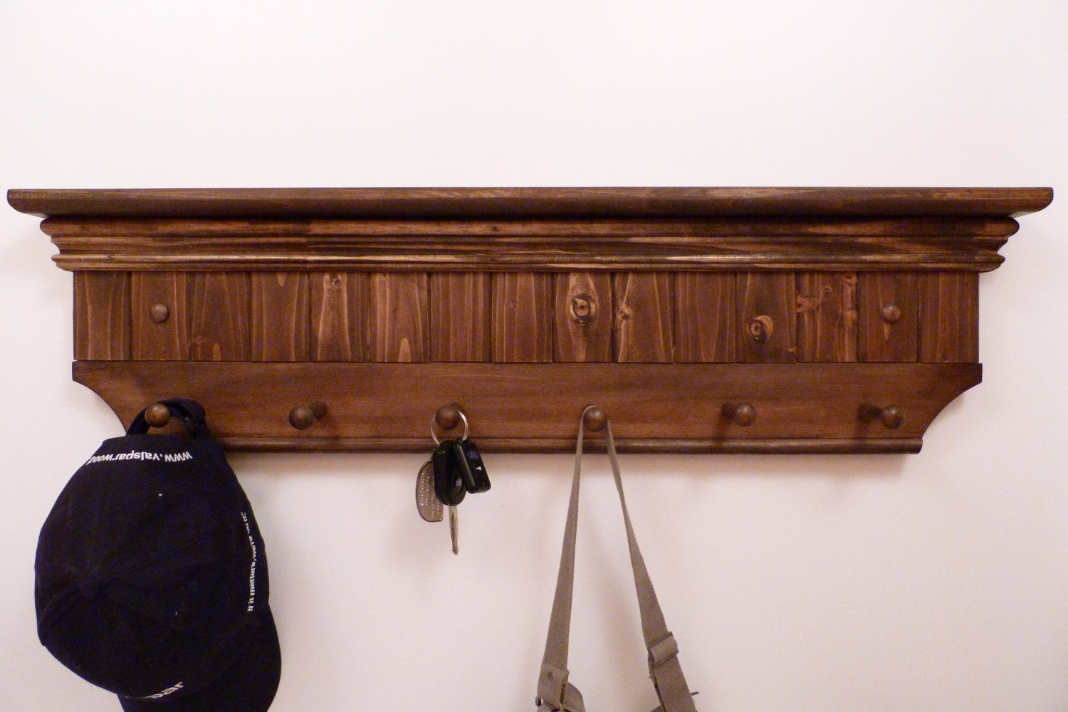 entryway coat rack wood wall shelf 32 inches full color. Black Bedroom Furniture Sets. Home Design Ideas