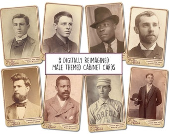 8 Male Themed Digitally Re-imagined Cabinet Cards