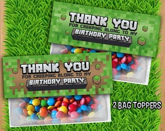 Inspired Mine Themed Favor Bag Toppers - INSTANT DOWNLOAD - Video Game Treat Bag Topper - Birthday Printable Mine