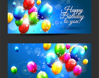 Happy Birthday to you banners colored balloons vector Digital Art