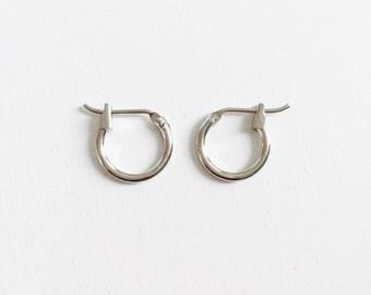 Small clasp hoop earrings, snap hoop earrings