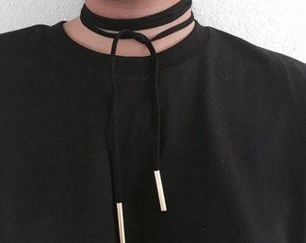 Long suede choker with golden ends, bow tie choker