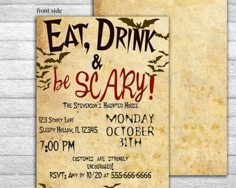 Adult Halloween Party Invitations invitations fun halloween party invitations halloween party ideas for Halloween Party Invitation Printable Eat Drink Be Scary Halloween Invites Vintage Old Paper Double Sided Diy Editable Template Ms Word Doc