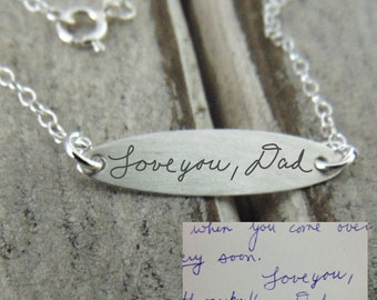 Handwritten Oval Bar Necklace - YOUR HANDWRITING  - Perfect for Layering - Jewelry For Her - Sterling Silver Bar Pendant- Personalized