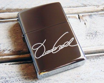 Chrome Zippo Personalized - Choose Font or ACTUAL HANDWRITING - Gift for Dad - Military - Perfect Groomsmen Gift - Sentimental Zippo