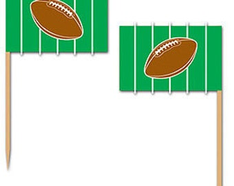 50 Ct. Football Cupcake Picks Football Party Decorations Superbowl Party Food Picks Football Food Picks Tailgate Party Supplies