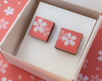 Pink cherry blossom square stud earrings ~ Japanese Yuzen paper handmade wooden earrings