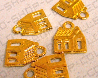 Gold Tone Alloy House Charm 14mm, Charms, Jewelry Making,Alloy
