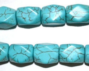 Faceted Stone Turquoise Beads, Sold by 1 strand of 27pcs, 12x15mm, 1mm hole opening , 99.6grams/pk