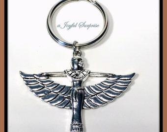 Goddess Cleopatra Keychain, Egyptian Goddess Keyring, Art Deco Key Chain, Cleopatra Jewelry, Pewter Cleopatra Key ring