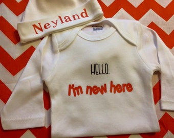 Hello I'm new here onesie with hat beanie personalized