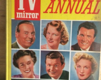 Television annual - 1950s TV - kitsch film book - altered art - kitsch TV book - British Television,Daily mirror,