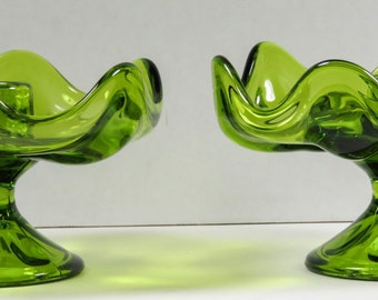 Viking Art Glass Taper Candle Holders Epic Line 6 Petal Crimped Avocado Green 1960's Pair Mid Century