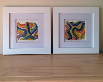 Pair of Colorful Abstracts, Multi Color, Acrylic Paper, Framed Painting, Small Painting, Pink, Green, Blue, Orange, Organic, Abstract