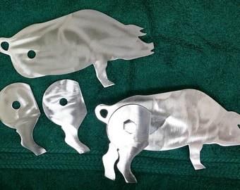 BBQ Hinges - Pig Shaped Hinges - Custom BBQ - 3 Complete Hinges