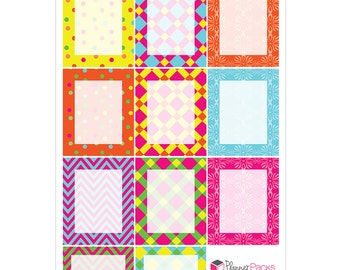 Spring Summer Erin Condren Planner Sticker Sheet Fill In Box Write Your Own Stickers for All Planners Bright Color Patterns