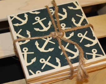 Tile Coasters Anchor - beach, water, beach house, ocean, sea, sea life, sand, nautical, summer, weddings, birthdays