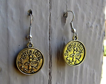 Gold Sagittarius Earrings