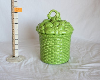 Whittier Green Basket Cookie Jar