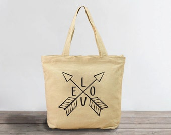 Canvas Tote Bag, Love Arrows Tote, Tote Bag, Canvas Bag, Cotton Bag,Gift for Her,Canvas Bag for Women,Grocery Bag,Printed Bag,Canvas Shopper