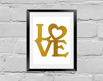 Gold foil print,love wall art,foil print,gold foil wall art,gold foil art,foil art,valentine,quote foil art,love foil print