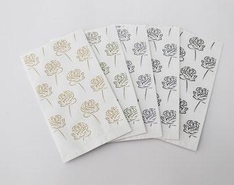 "Paper carrier bags small 9 x series ""Huggin and Munnin"" roses 15 cm Flat paper bags"