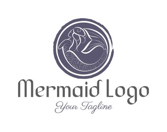 Custom Logo Design Premade Mermaid logo, Photography logo, Business logo,  Vintage logo, Hand drawn logo mermaid ocean,Nautical logo