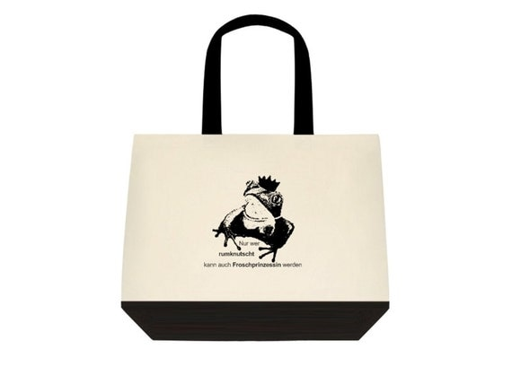 Beach Bag-only who rumknutscht can also be Frog Princess... Large carrying case, bag, shopping bag black & white style frog